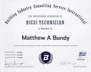 Matt Bundy BICSI certification