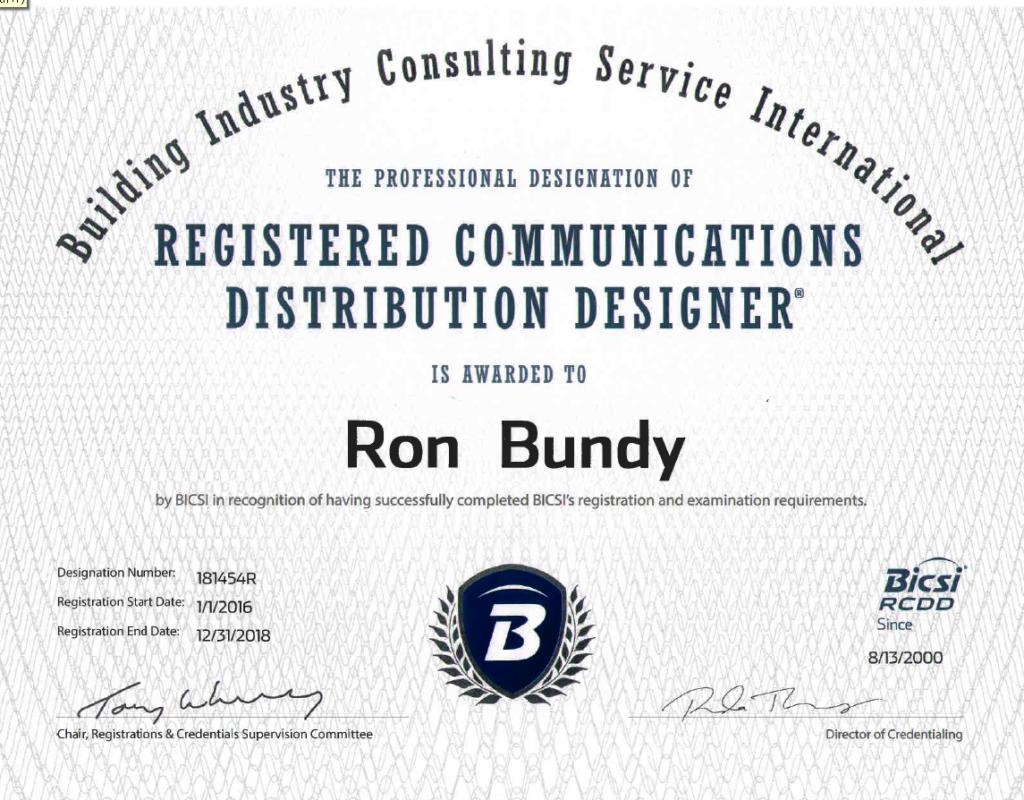 registered communications distribution designer ron bundy