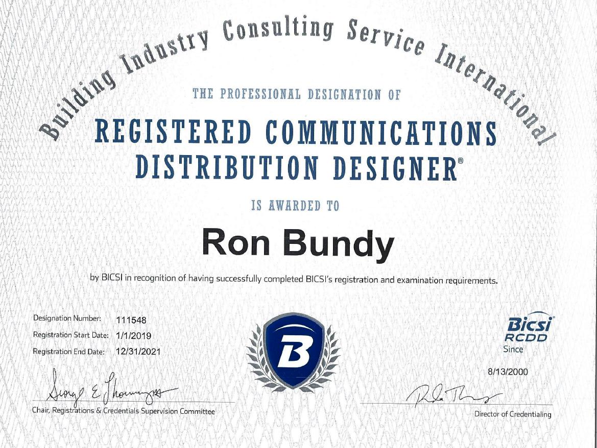 rcdd bicsi certification